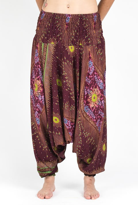 Peacock Eye Jumpsuit Harem Pants in Wine