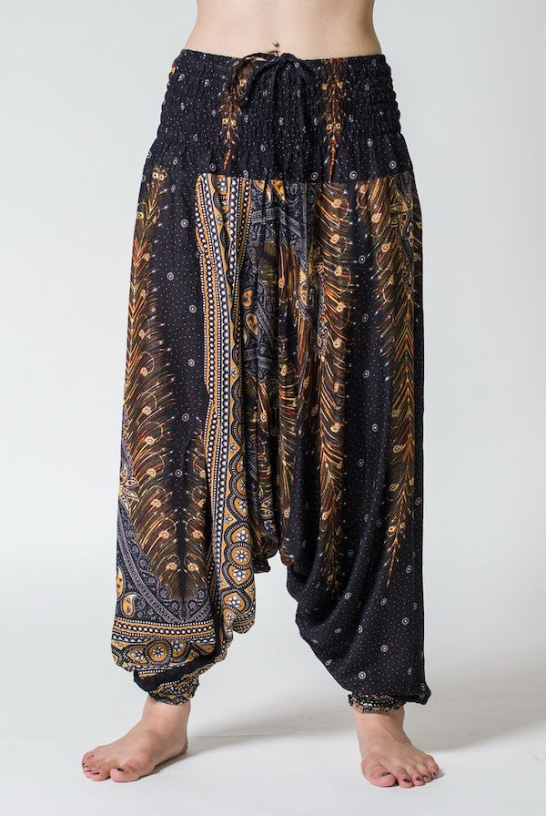 Peacock Feather Jumpsuit Harem Pants in Black
