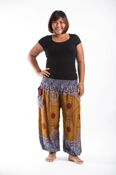 Plus Size Geometric Mandalas Harem Pants in Bronze