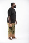 Plus Size Geometric Mandalas Harem Pants in Olive