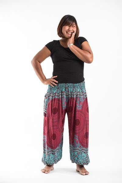 Plus Size Geometric Mandalas Harem Pants in Red