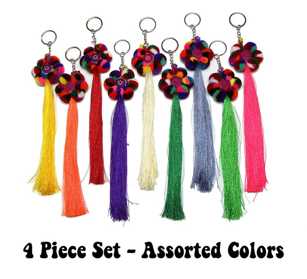Assorted 4 Piece Set Handmade Hmong Tassle Keychain