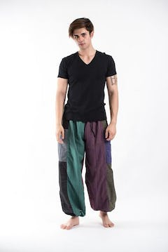 Boho Striped Jumpsuit Harem Pants in Festival  Green
