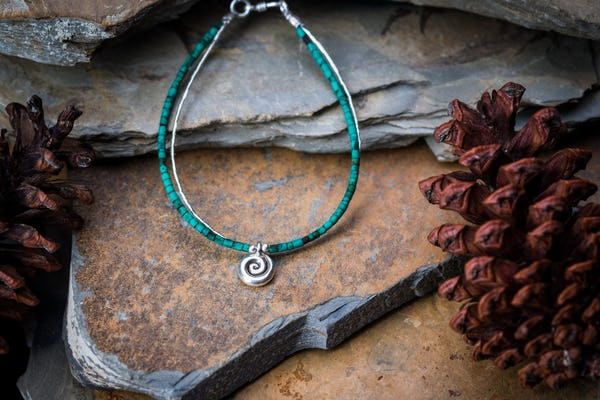 Hill Tribe Hand Made Malachite and Silver Bracelets with Swirl Charm