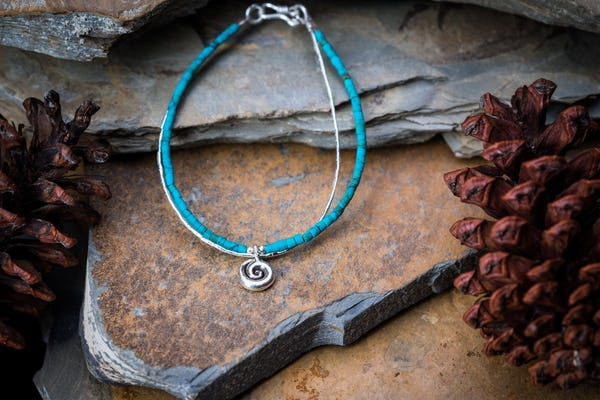 Hill Tribe Hand Made Turquoise and Silver Bracelets with Swirl Charm