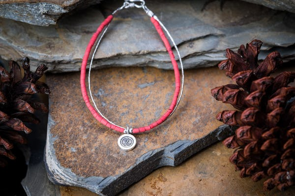 Hill Tribe Hand Made Coral and Silver Bracelets with YinYang Charm