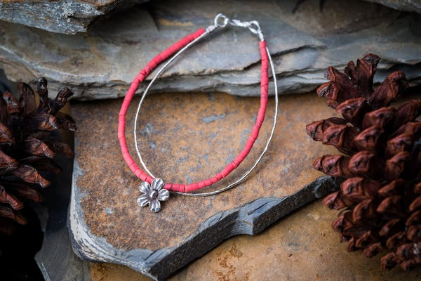 Hill Tribe Hand Made Coral and Silver Bracelets with Flower Charm
